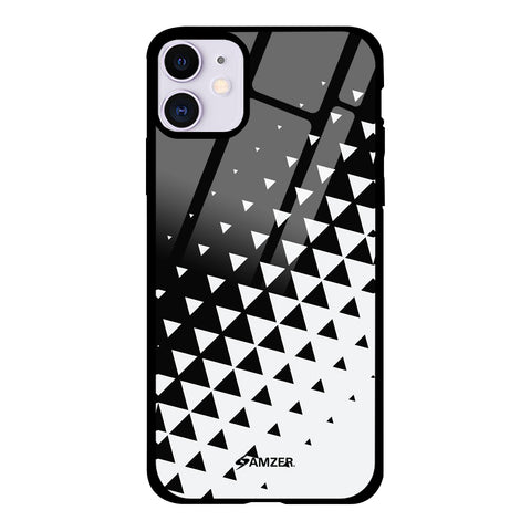 Black & White Polygon Glass Case Cover For iPhone 11