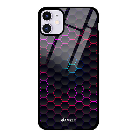Mesh Pattern Glass Case Cover For iPhone 11