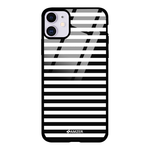 Line Halftone Pattern Glass Case Cover For iPhone 11