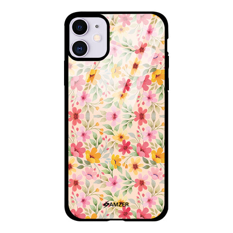Motif Floral Glass Case Cover For iPhone 11