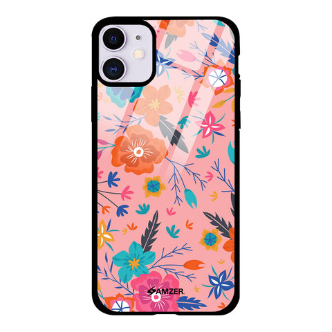 Floral Seamless Glass Case Cover For iPhone 11