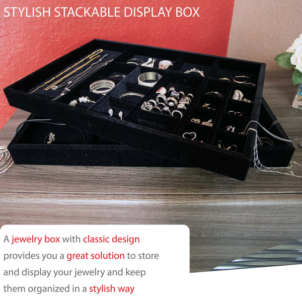 "Jewelry Drawer Organizer ,  Wood and Velvet Tray Made In USA , (Black) 21.5"" x 14.5""x 2"""