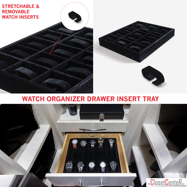 "Watch Organizer Jewelry Drawer Insert, Wood and Velvet Tray Black 15""x12""x2"", made in USA."