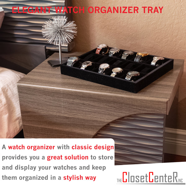"Watch Organizer Jewelry Drawer Insert, Wood and Velvet Tray Black 15""x12""x2"", made in USA - Beauty By Eden LLC"