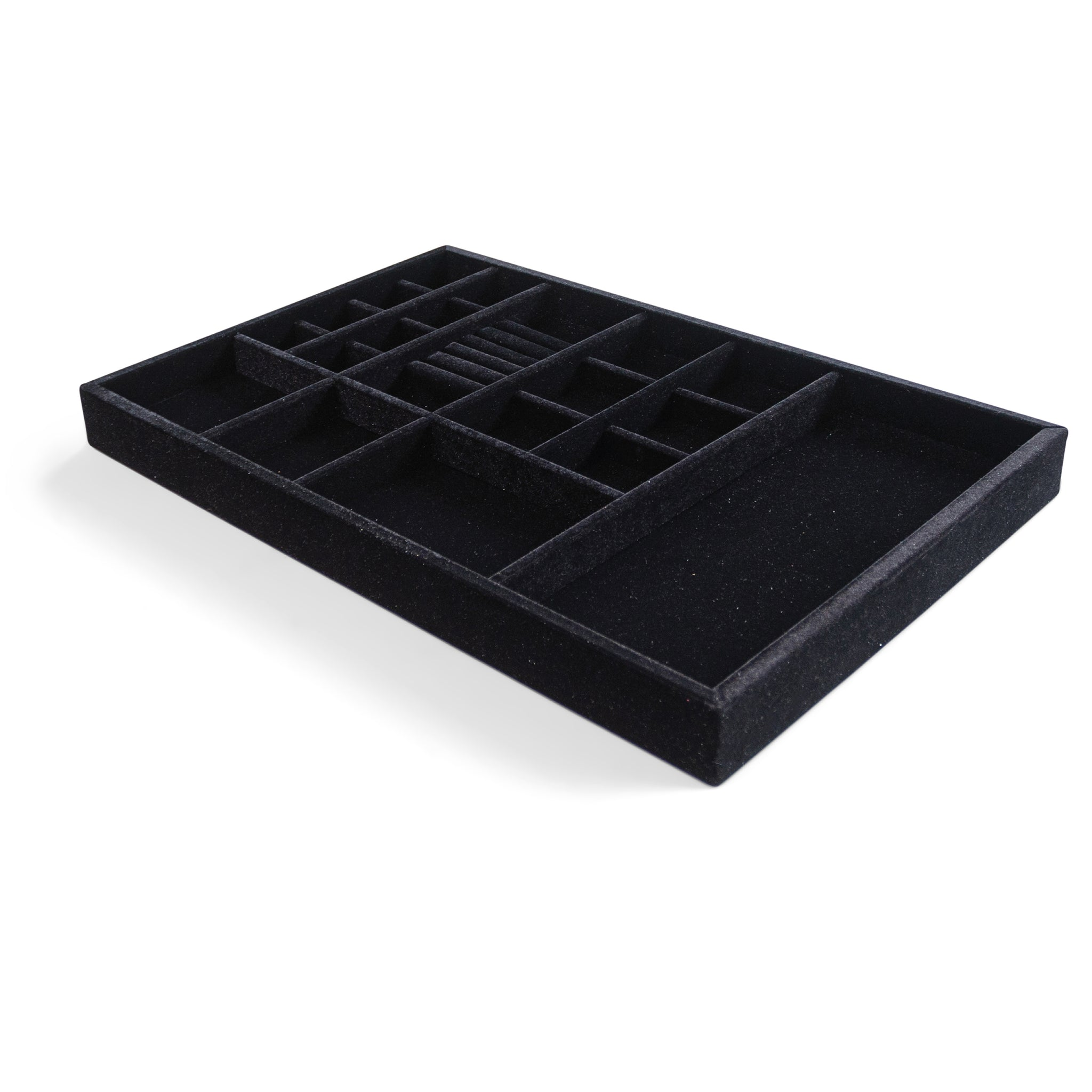 "Jewelry Organizer Drawer Insert,  Wood and Velvet Tray Made In USA , (Black) 21.5"" x 14.5""x 2"" - Beauty By Eden LLC"