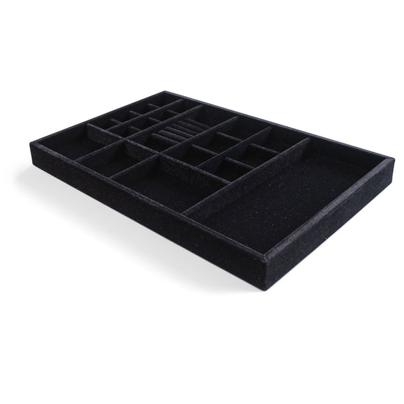 Jewelry Organizer Drawer Insert,  Wood and Velvet Tray Made In USA , (Black) 21.5