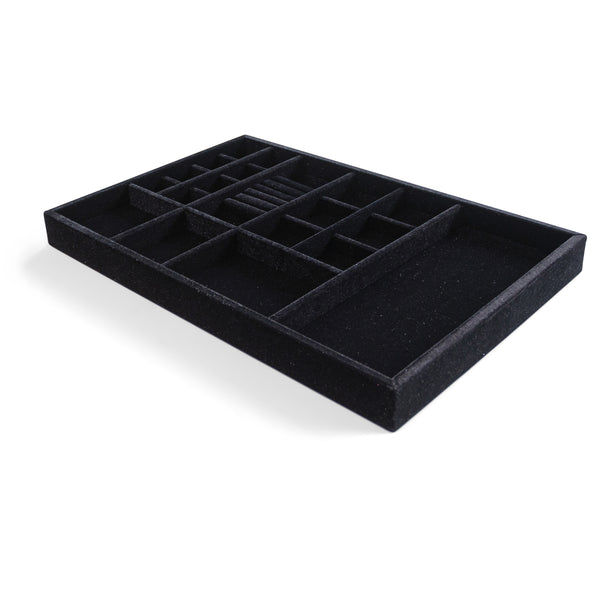 "Jewelry Organizer Drawer Insert,  Wood and Velvet Tray Made In USA , (Black) 21.5"" x 14.5""x 2""."