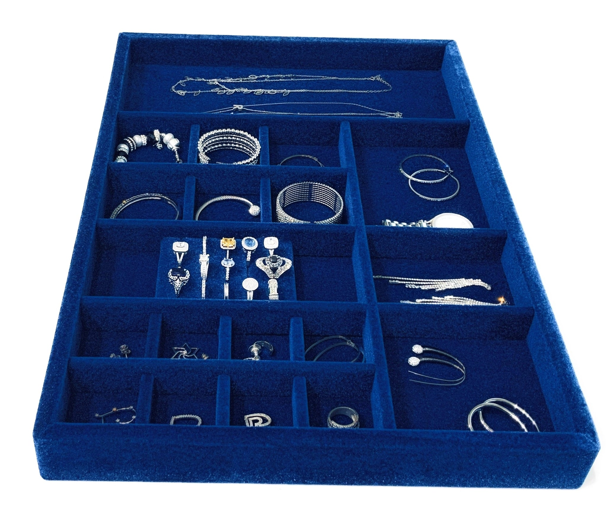 "Jewelry Organizer Drawer Insert,  Wood and Velvet Tray Made In USA , (Royal Blue)21.5"" x 14.5""x 2"" - Beauty By Eden LLC"