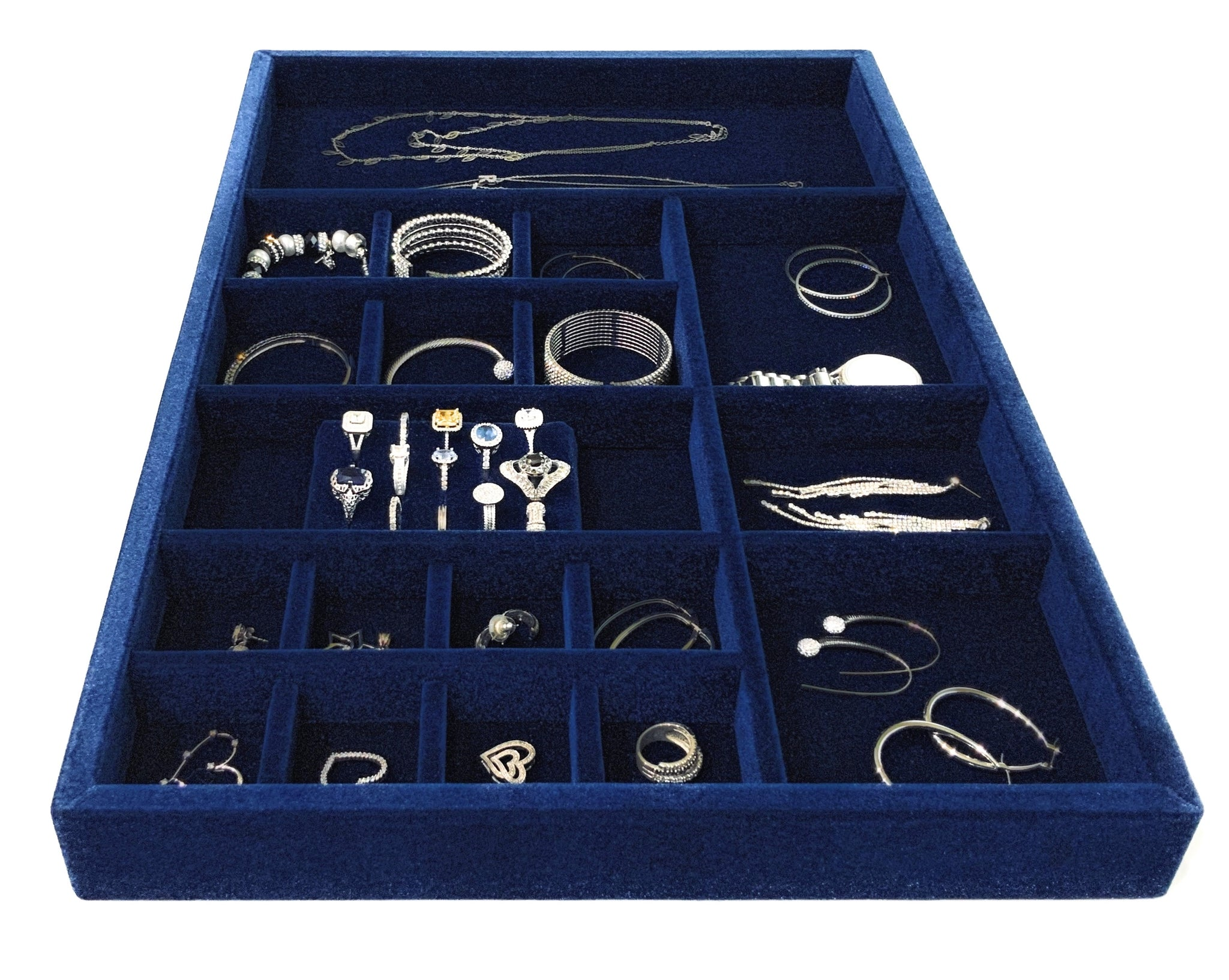 "Jewelry Organizer Drawer Insert,  Wood and Velvet Tray Made In USA , (Navy Blue) 21.5"" x 14.5""x 2""."