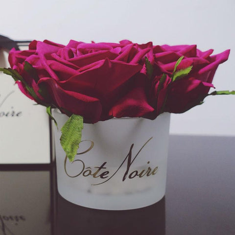 Côte Noire Perfumed Natural Touch 5 Roses in White Box- Carmine Red
