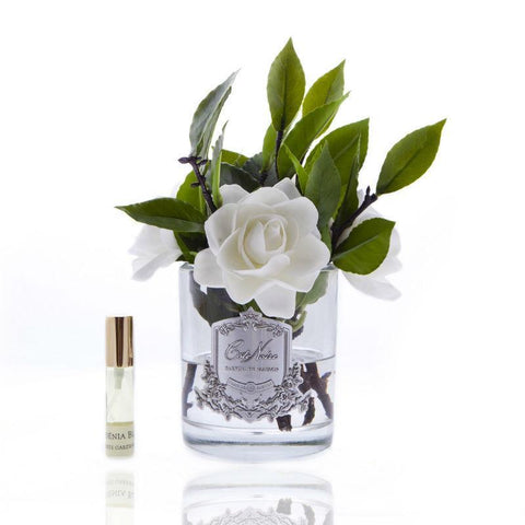 Côte Noire Perfumed Gardenias in Black Glass - Ivory