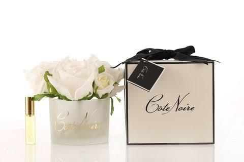 Côte Noire Perfumed Natural Touch 5 Roses in White Box- Ivory White