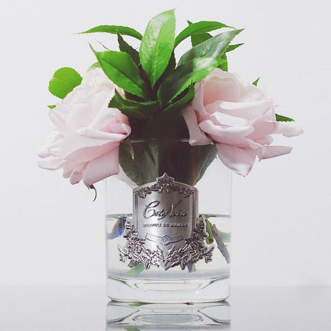 Côte Noire Perfumed Pink English Roses in Clear Glass - Ivory