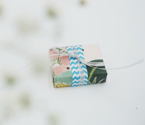 Sandalwood Bergamot Gift Soap with floral print wrap