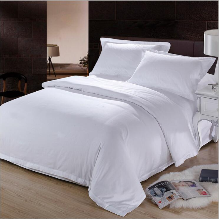 60S High quality hotel bed four-pieces Sets full cotton Satin drill Pure white ( sheets + Duvet Cover + 2PC Pillow Case ) C001, Houseware, SwaangCity, SwaangCity