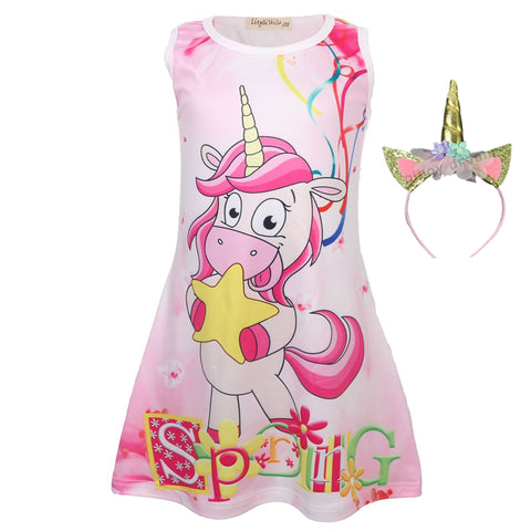Baby Girls Summer Butterfly Unicorn Dress Kids Dresses Girls Dress Sleeveless Children Clothing Party Dress Princess Birthday, Clothes, SwaangCity, SwaangCity