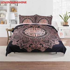 Gold Black Boho Soft Microfiber Duvet Cover Bedding Set Twin/Full/King/Queen Size Bedding Bed linen Set, Houseware, SwaangCity, SwaangCity