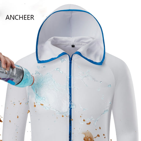Hydrophobic Ice Silk Man Fishing Clothing Outdoor Camping Hiking Hooded Jackets Waterproof Anti-Fouling Quick-Drying-Protect, Outdoors, SwaangCity, SwaangCity