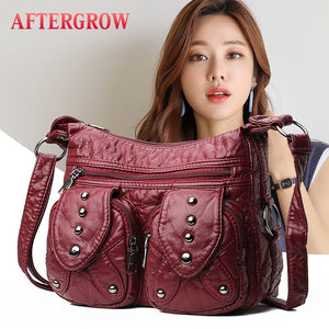 AFTERGROW Women's Medium Messenger Bag / Flap Bag Washed Leather Rivet Decoration, Backpacks and Carriers, SwaangCity, SwaangCity