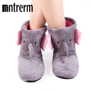 Mntrerm Winter Warm Indoor Slipper Boots Cute Elephant Animals Slippers For Women Flannel Home Slippers, Shoes, SwaangCity, SwaangCity