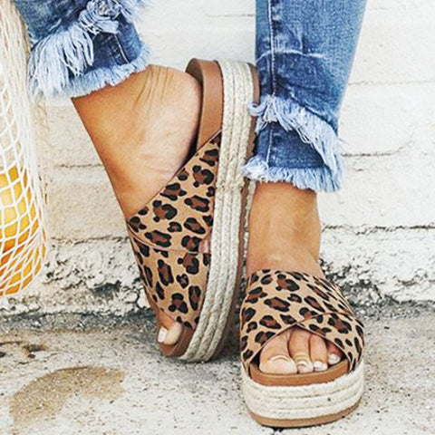 Image of MoneRffi Sexy Leopard Sandals Summer Women Slippers Open Toe Platform Casual Slides, Shoes, SwaangCity, SwaangCity