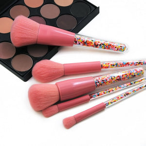 5pcs Lollipop Candy Unicorn Crystal Makeup Brushes Set Colorful Lovely Foundation Blending Brush Makeup Tool, Makeup, SwaangCity, SwaangCity
