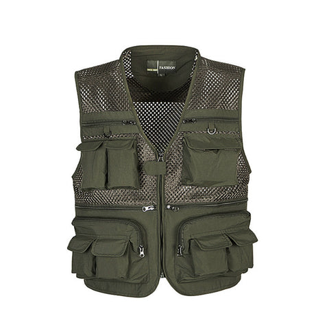 Outdoor Fishing Vests Quick Dry Breathable Multi Pocket Mesh Jackets Photography Hiking Vest Army green fish Vest, Outdoors, SwaangCity, SwaangCity