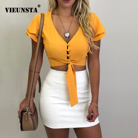 Image of VIEUNSTA Women Blouses New Fashion Button V-neck Office Shirt Chiffon Blouse Sexy Butterfly Sleeve Short Tops Slim Summer Blusas, Clothes, SwaangCity, SwaangCity