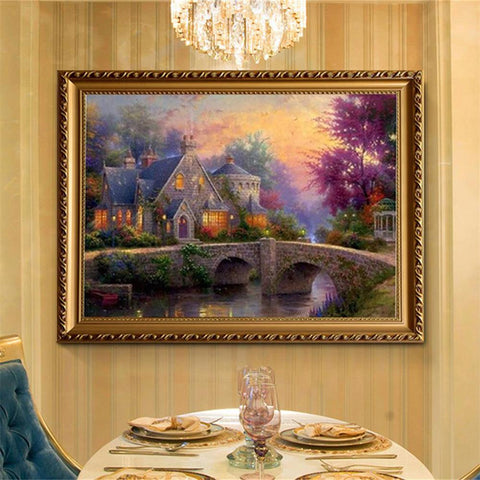 ZOOYA DIY 3D Mosaic Painting Rhinestones Diamond Embroidery Landscape Bridge And House, Paintings, SwaangCity, SwaangCity