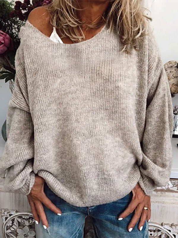 Beige Col Rond Manches Longues Blouses Tops