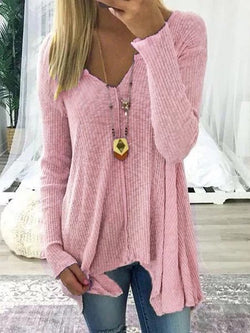 Manche longue Solide Pull Femme