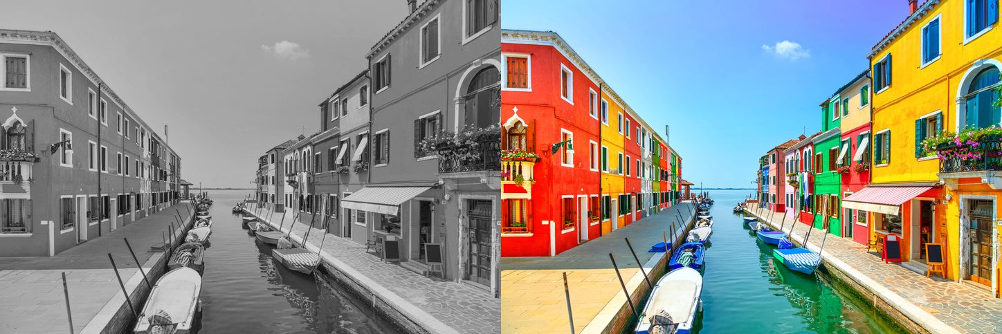 color city and black and white city photos