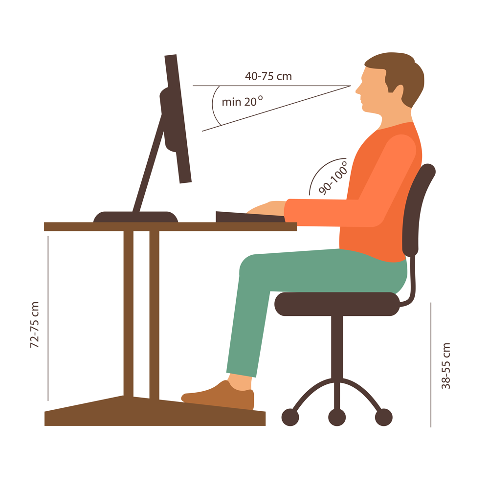 Illustration showing the proper ergonomic position for office work