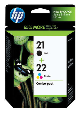 HP HP 21 Black/22 Tri-Color (C9509FN) 2-Pack Original Ink Cartridges (190 Black 165 Tri-Color Yield)