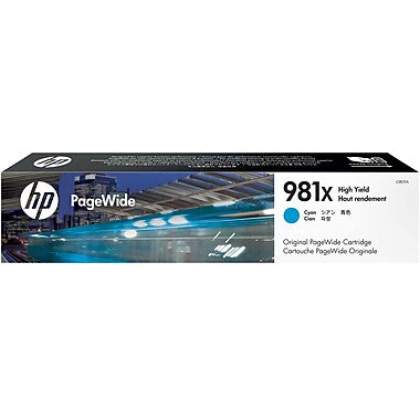 HP 981X (L0R09A) PageWide Enterprise Color 556 586 Managed Color E55650 E58650 High Yield Cyan Original PageWide Cartridge (10000 Yield)