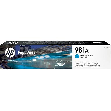 HP 981A (J3M68A) PageWide Enterprise Color 556 586 Managed Color E55650 E58650 Cyan Original PageWide Cartridge (6000 Yield)