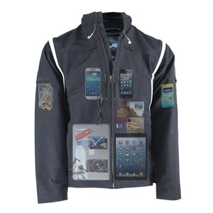 AyeGear travel jacket with lots of pockets including iPad carry