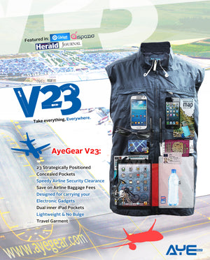 AyeGear V23 - Travel Vest , Travel Vest - AyeGear, AyeGear - Travel Clothing, Carry Your iPad | Travel Vests | Hoodies | Jackets | Tees  - 10