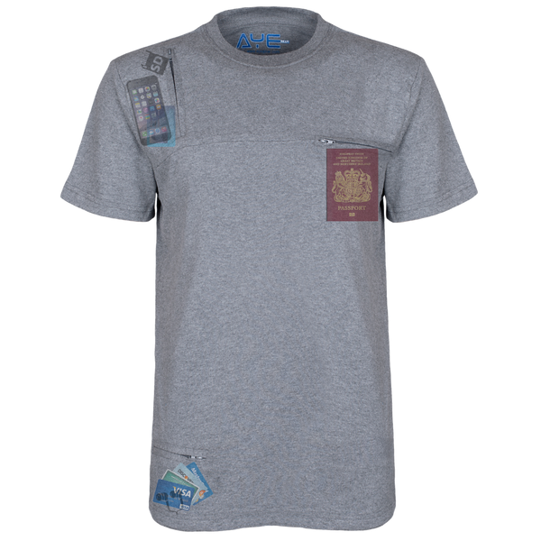 AyeGear - 3 Pocket Tshirt , Tshirt - AyeGear, AyeGear - Travel Clothing, Carry Your iPad | Travel Vests | Hoodies | Jackets | Tees  - 1