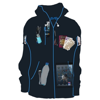 AyeGear h13 travel hoodie fleece | lots of pockets | secure pockets | scottevest