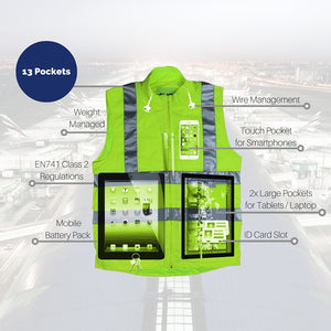 hi visibility vest with ipad pocket
