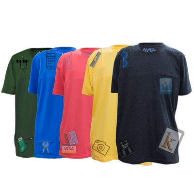 AyeGear multipocket tshirt for travel | pickpocket proof tee gear | ideal for hiking swimming camping
