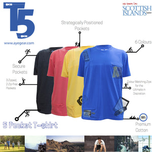 AyeGear 5 Pocket Tshirt , Tshirt - AyeGear, AyeGear - Travel Clothing, Carry Your iPad | Travel Vests | Hoodies | Jackets | Tees  - 4