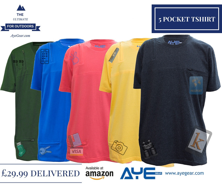Ayegear multipocket tshirt 5 pockets functional for Travel shirts with zipper pockets
