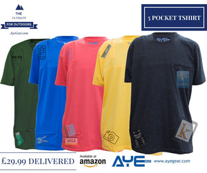 AyeGear 5 Pocket Tshirt , Tshirt - AyeGear, AyeGear - Travel Clothing, Carry Your iPad | Travel Vests | Hoodies | Jackets | Tees  - 3