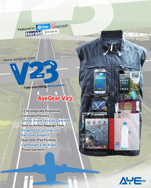 AyeGear V23 - Travel Vest , Travel Vest - AyeGear, AyeGear - Travel Clothing, Carry Your iPad | Travel Vests | Hoodies | Jackets | Tees  - 2