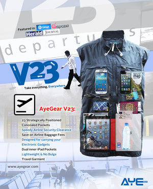 AyeGear V23 - Travel Vest , Travel Vest - AyeGear, AyeGear - Travel Clothing, Carry Your iPad | Travel Vests | Hoodies | Jackets | Tees  - 13