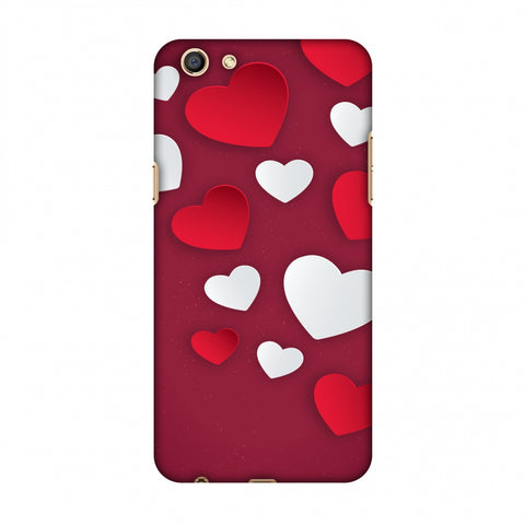 Red & White Hearts Slim Hard Shell Case For OPPO A77