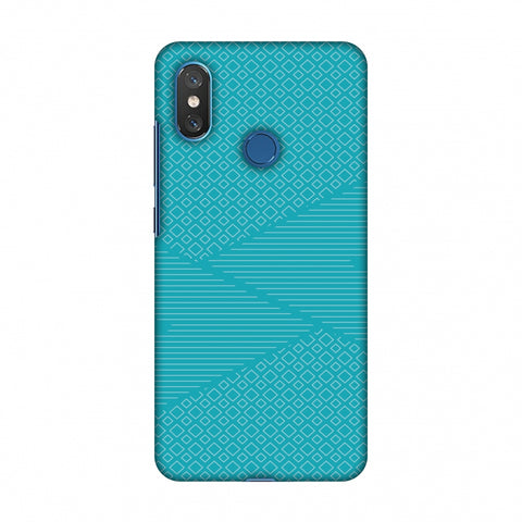 Carbon Fibre Redux Aqua Blue 6 Slim Hard Shell Case For Xiaomi Mi 8