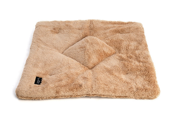 Soft flat sandstone square pillow cat bed - Tigga Towers